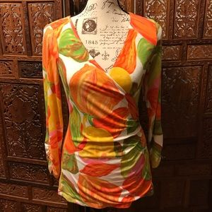 CAbi Tulip Print Surplice Faux Wrap Top #579